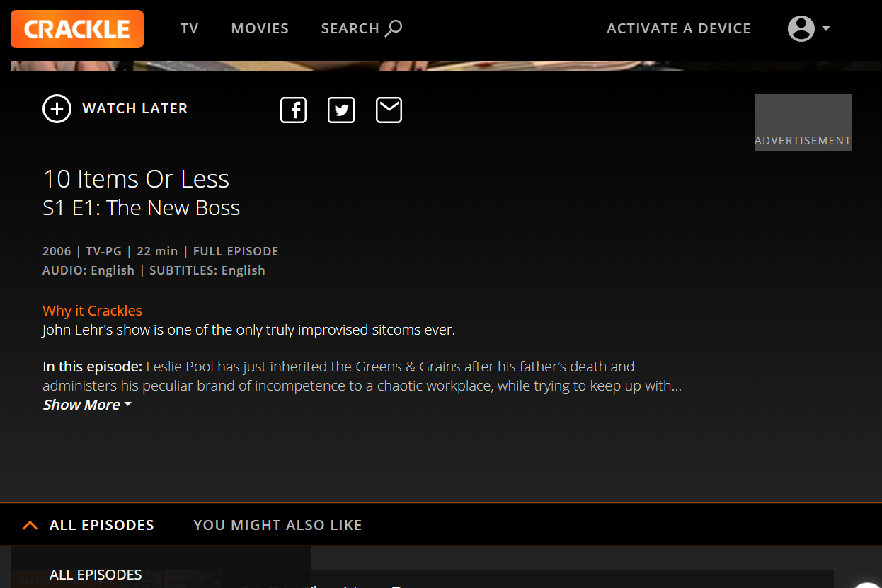Crackle TV show options