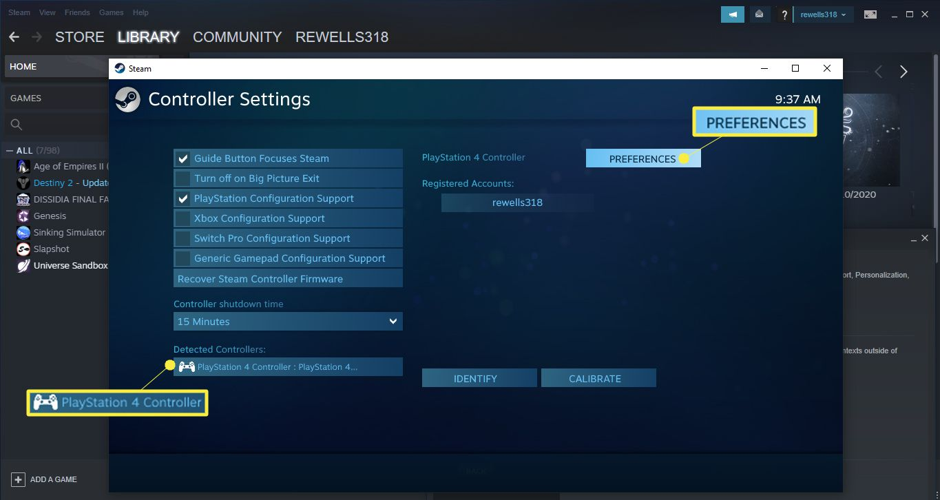 Select your PS4 controller under Detected Controllers, then select Preferences.