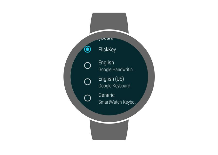 The keyboard selection menu displayed on a Wear OS watch.