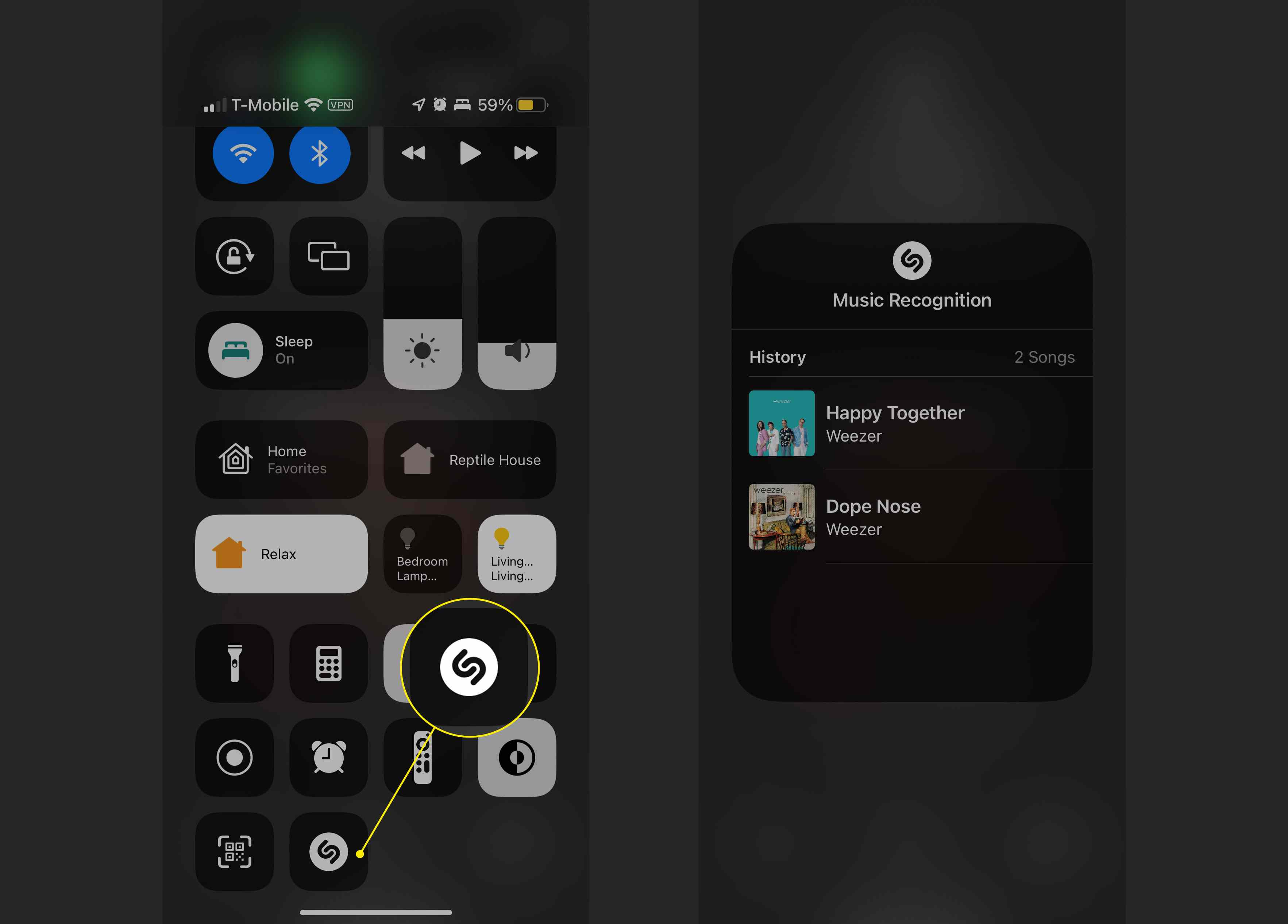 The Music Identification button in iOS 15's Control Center and a list of identified songs