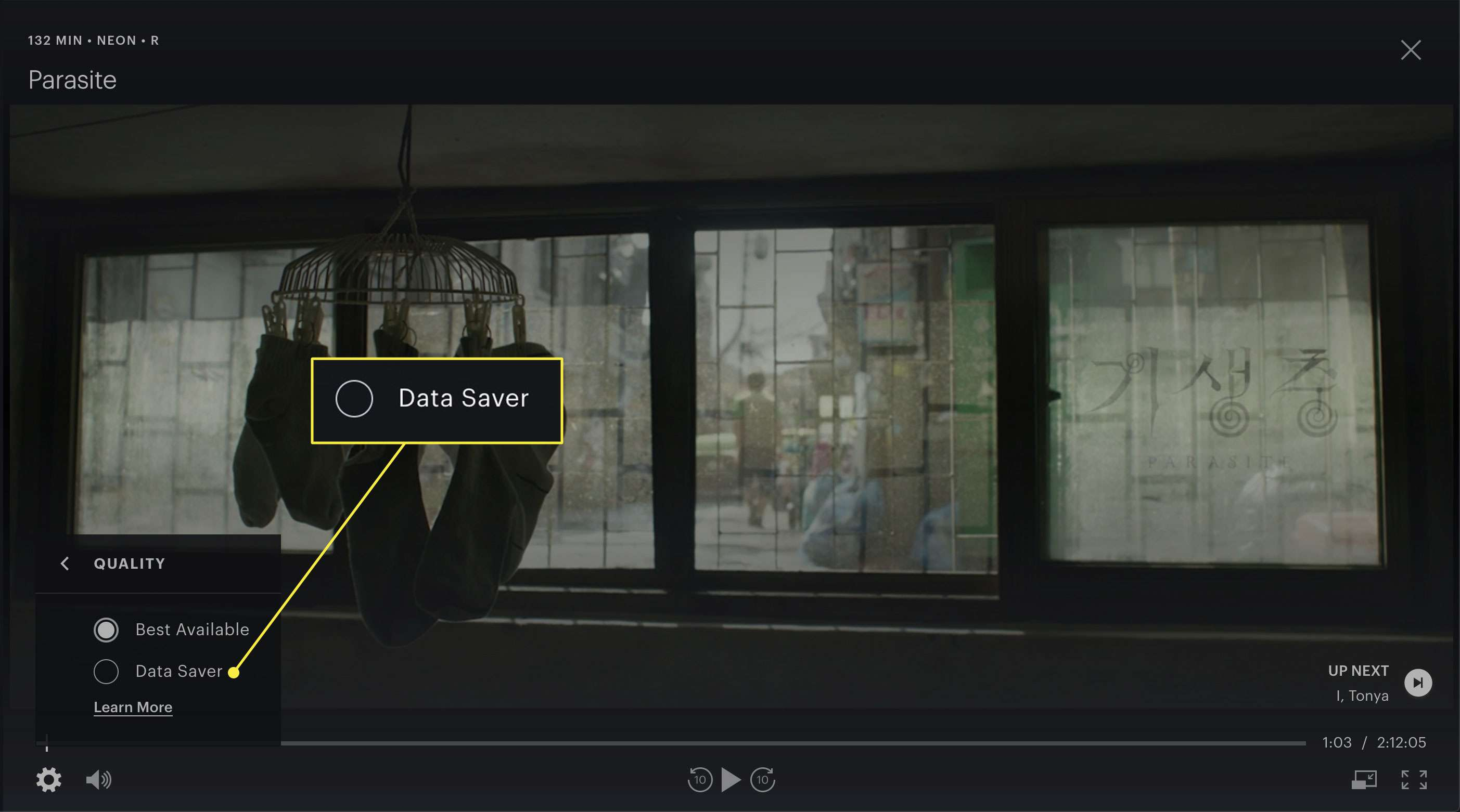 A screenshot of a movie playing on Hulu with the Data Saver quality option highlighted