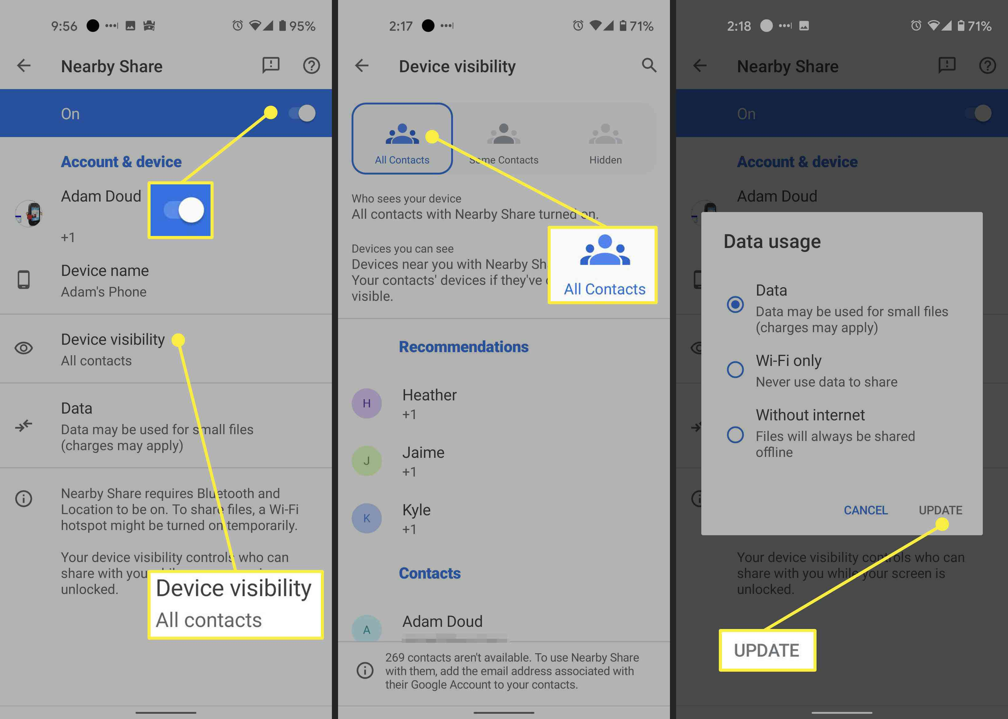 Steps to take to turn on Nearby Share on Android.