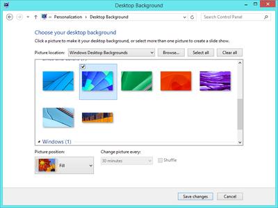 Screenshot showing how to change the Windows 8 desktop background