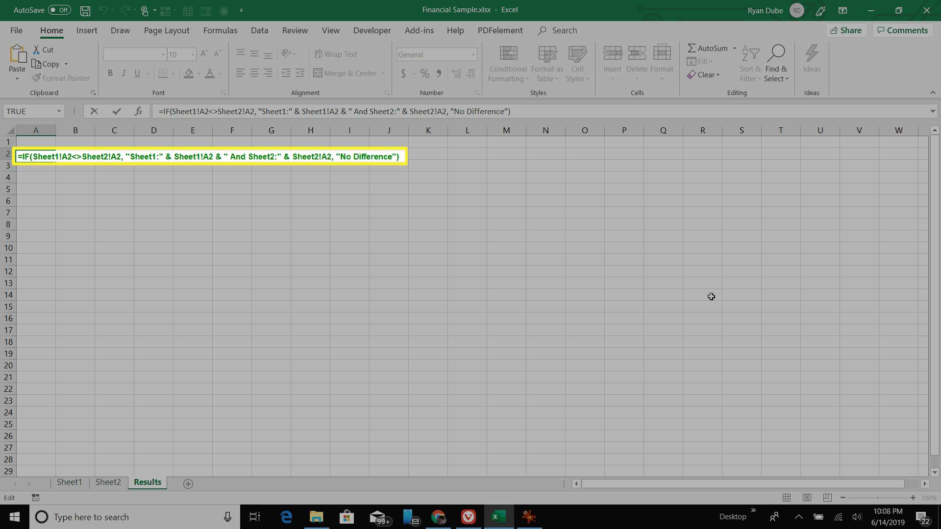 Entering the IF formula in Excel