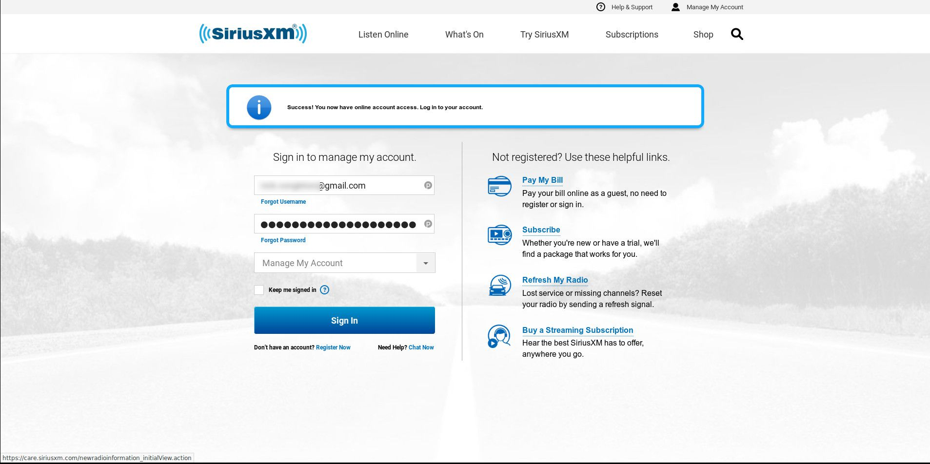 Sign-in page for SiriusXM accounts.