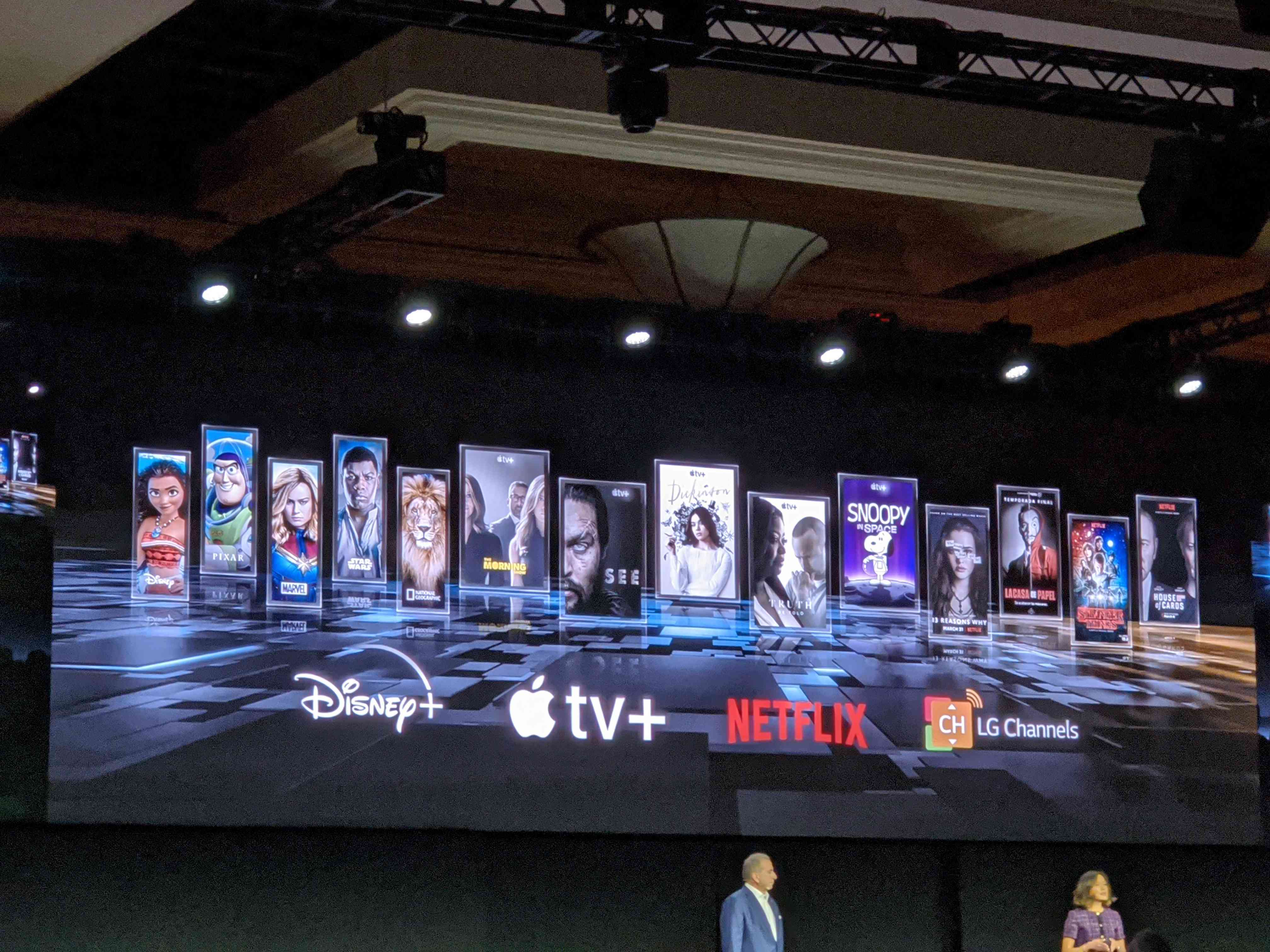 The LG stage at CES showing off new Apple TV+
