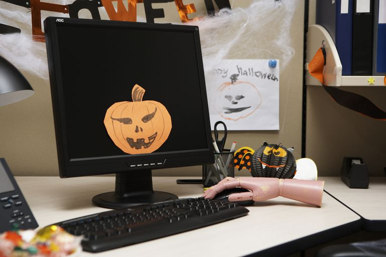 A computer decorated for Halloween