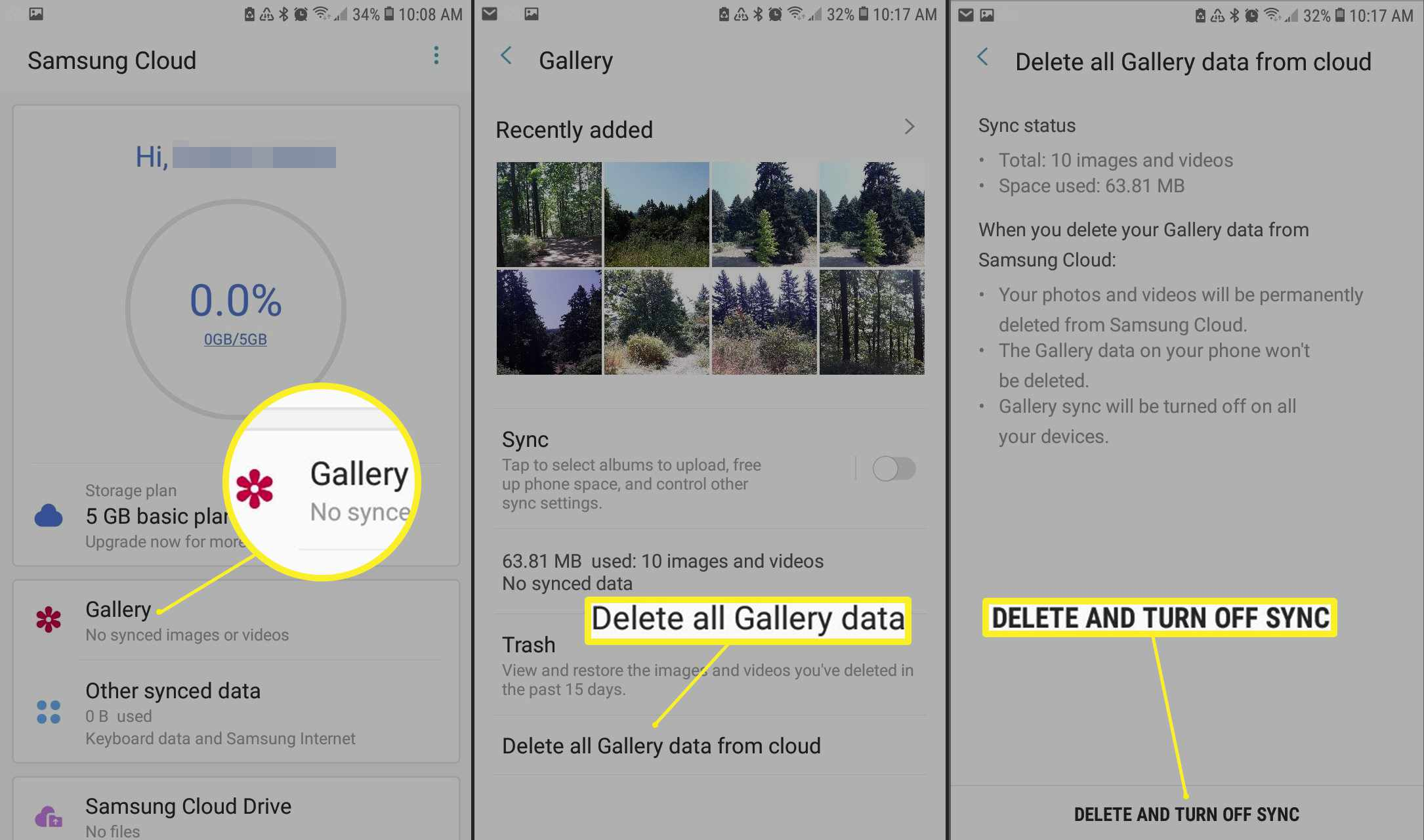 Deleting all Gallery photos from Samsung cloud