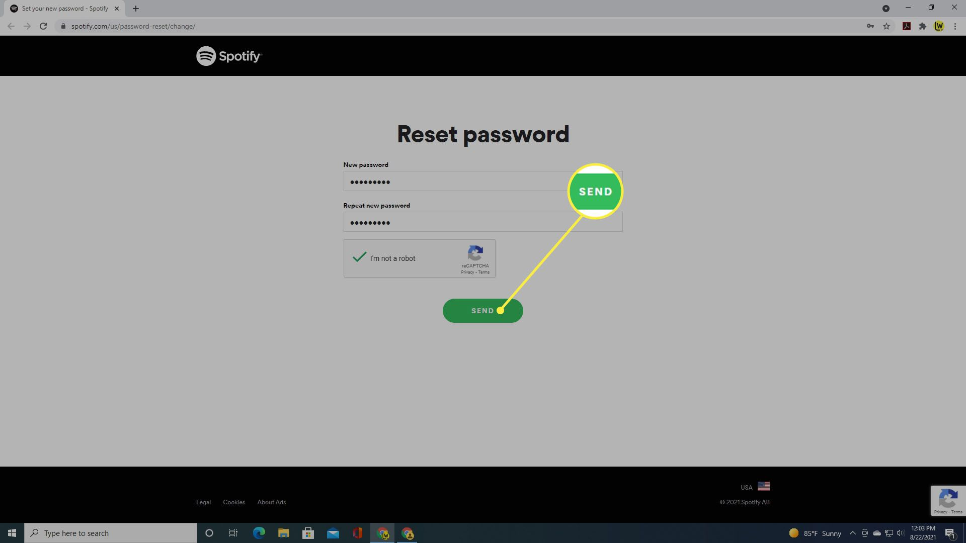 Selecting Send to complete resetting your password for Spotify.