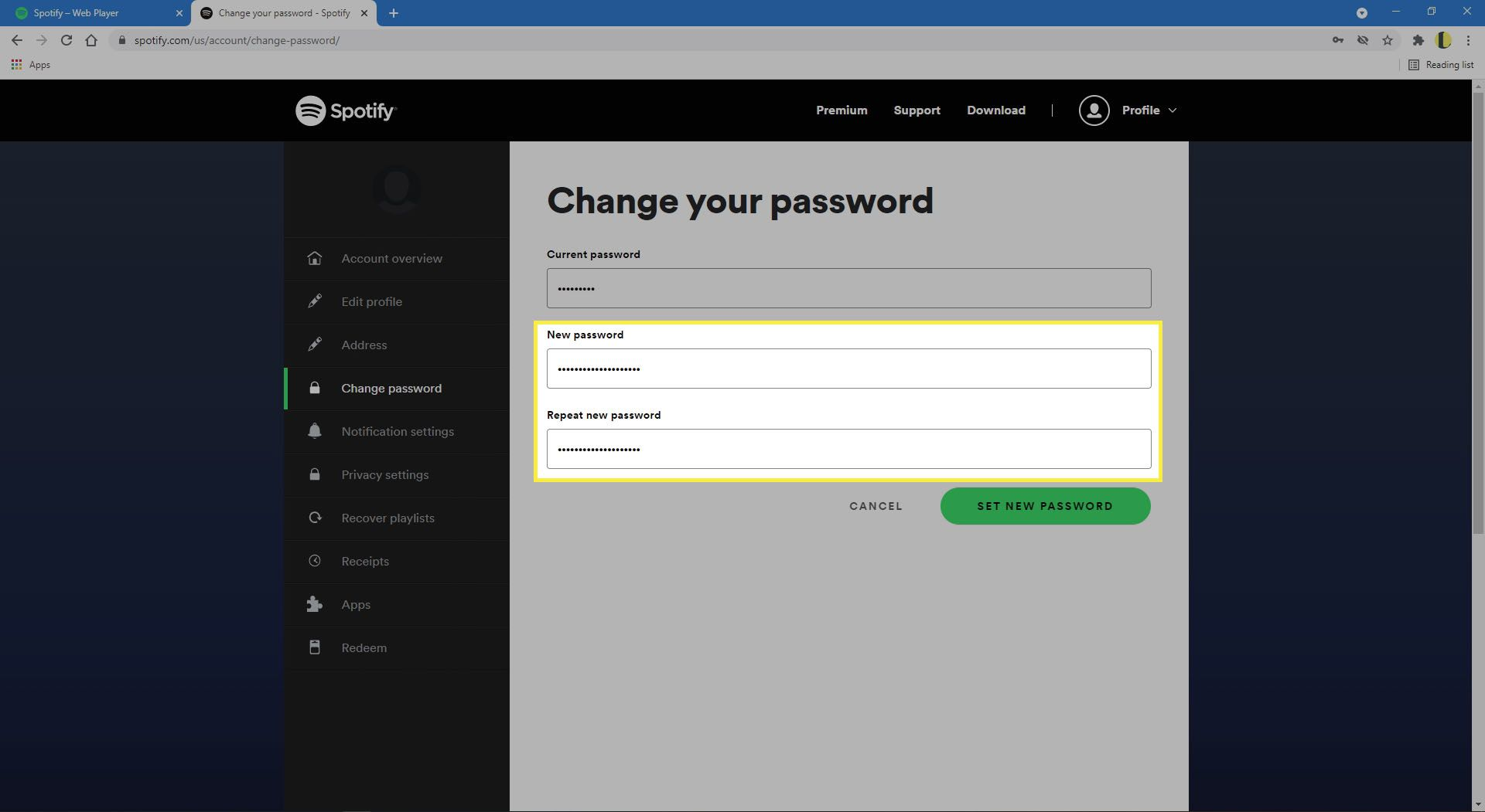 Entering in and confirming new password on the Spotify website.