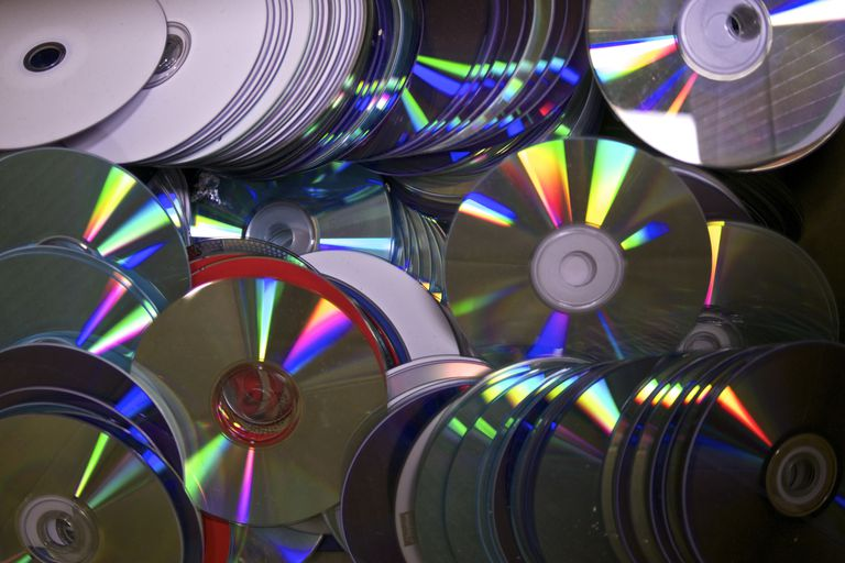 a large collection of blank CDs