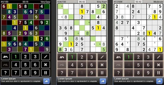 Three sudoku puzzles in the Andoku Sudoku app for Android.