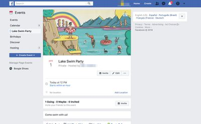 Example of a Facebook Event on Facebook