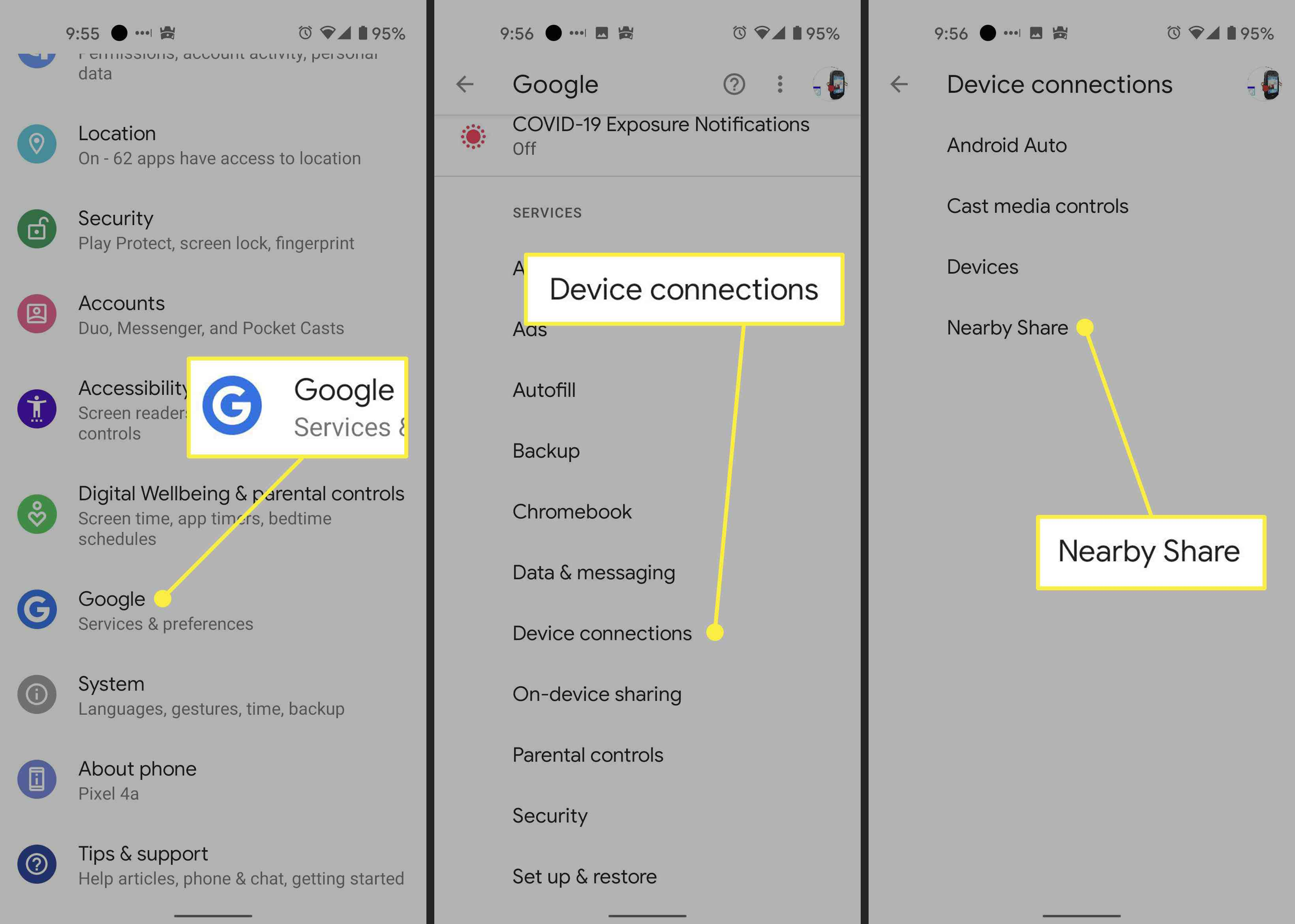 Steps to take to find folks to share files with in Android Nearby Share feature.