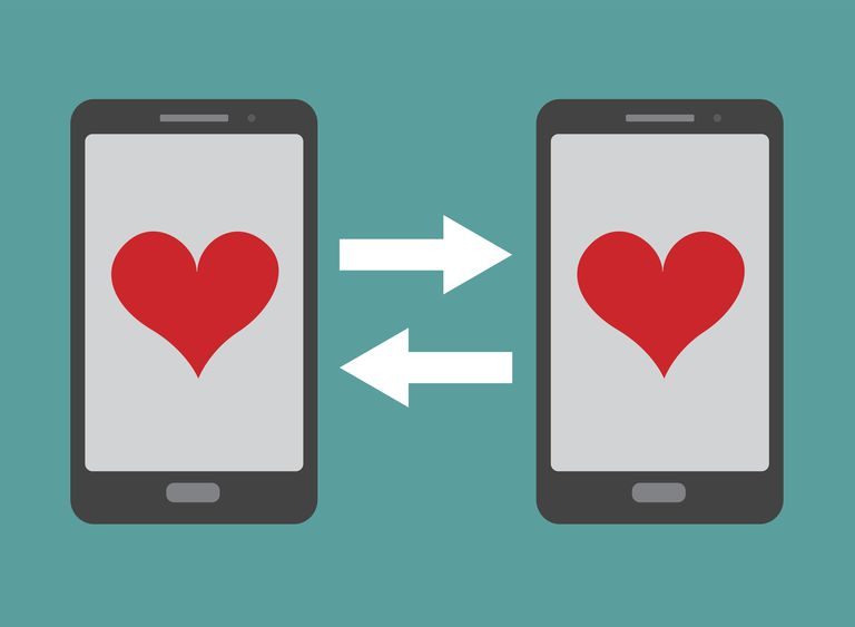 A graphic image of two smartphones with hearts on both screens.
