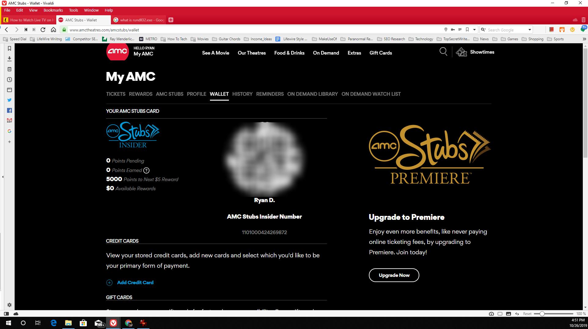 Screenshot of AMC Stubs points balance