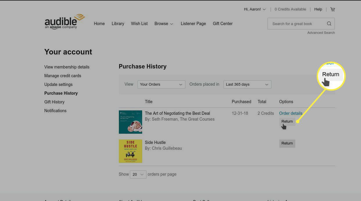 The Purchase History Page in Your Account Lists All Your Past Purchases.