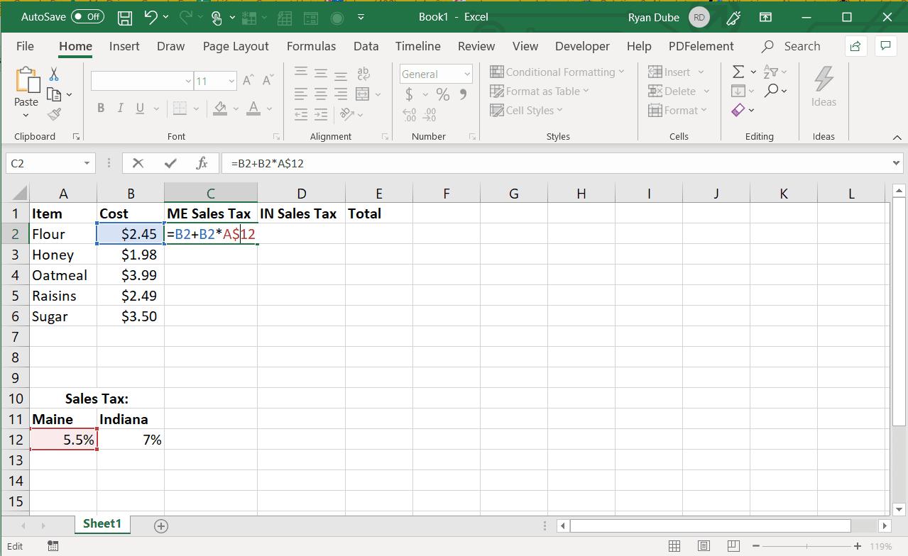 Screenshot of using an absolute row