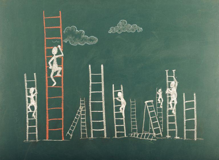 Stick Figure Climbing Ladder To Success