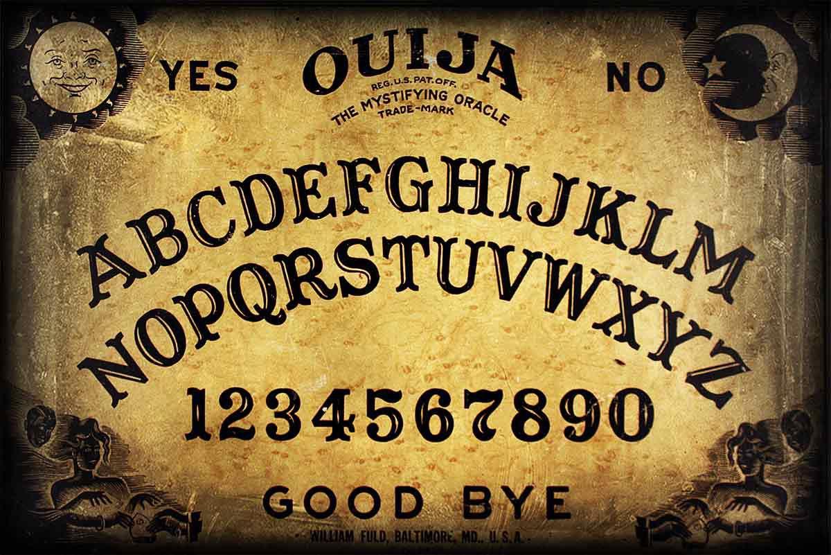 An aged Ouija board