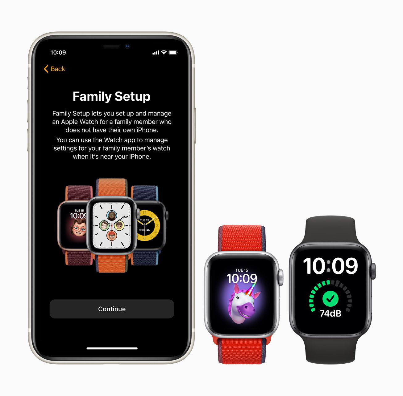 Two Apple Watches and an iPhone using Family Setup feature.