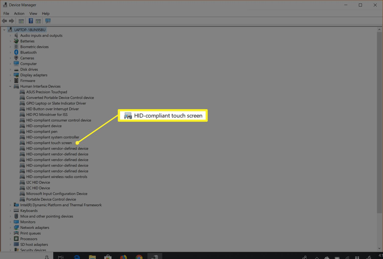 HID-compliant touch screen item in Device Manager