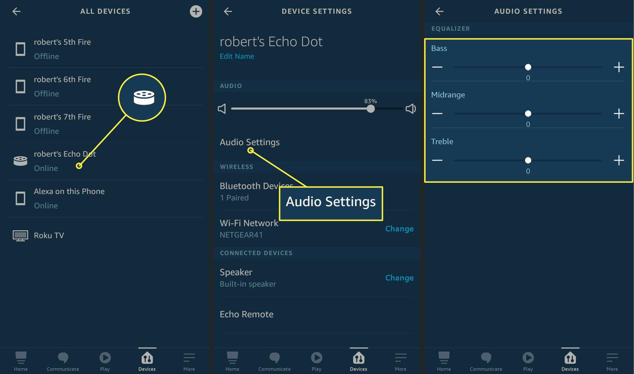 Audio Settings in the Alexa app