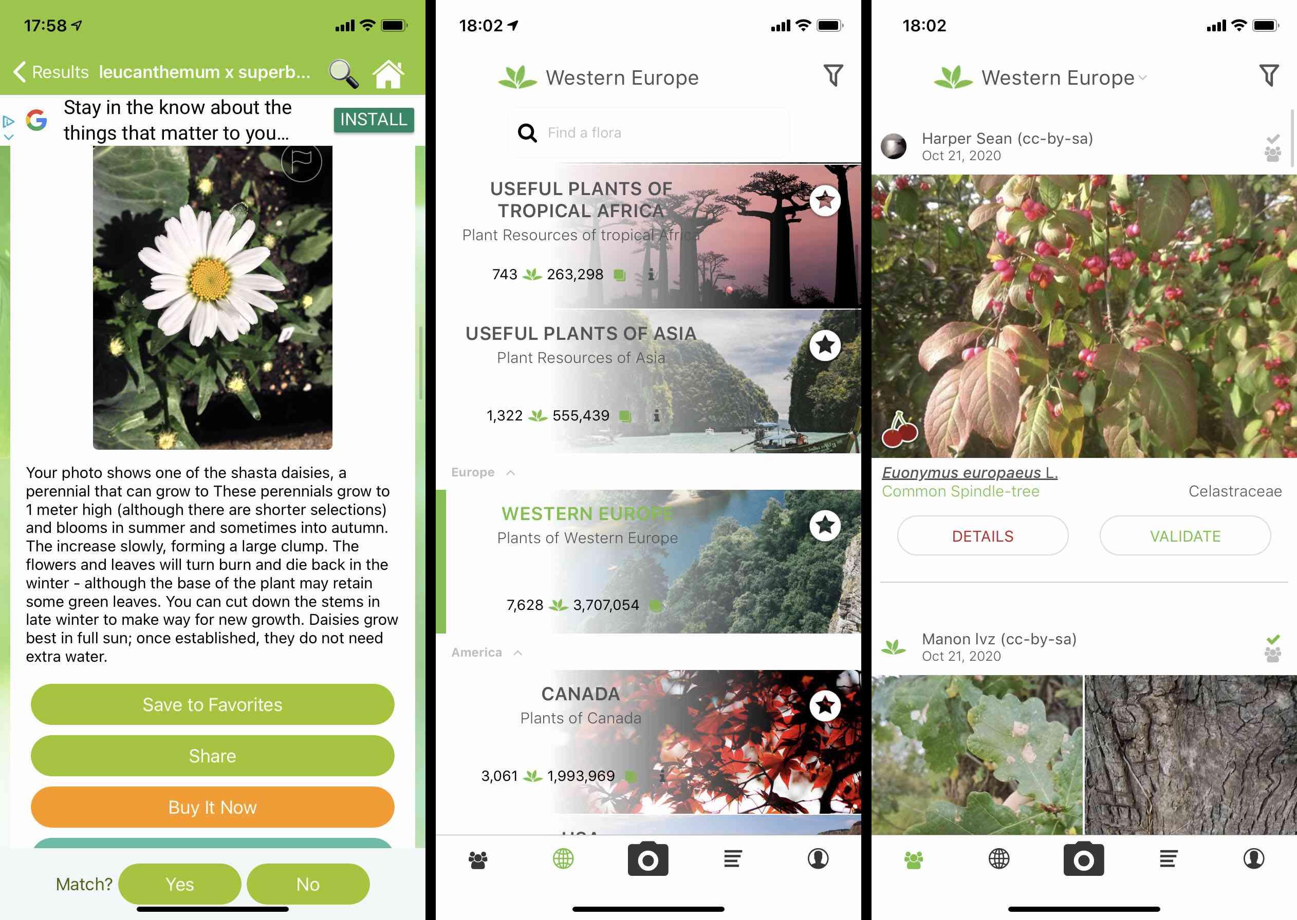 PlantNet iOS app screenshots