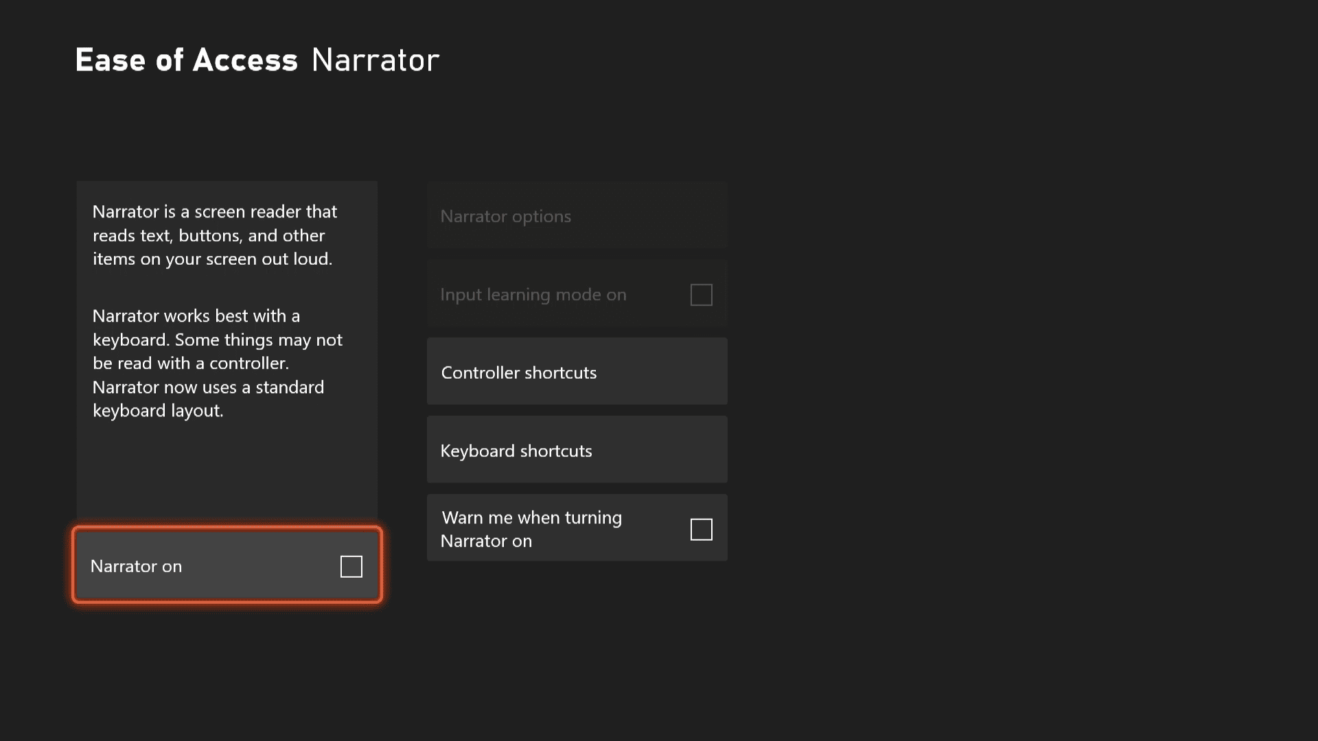 Turning the narrator off on Xbox Series X|S.