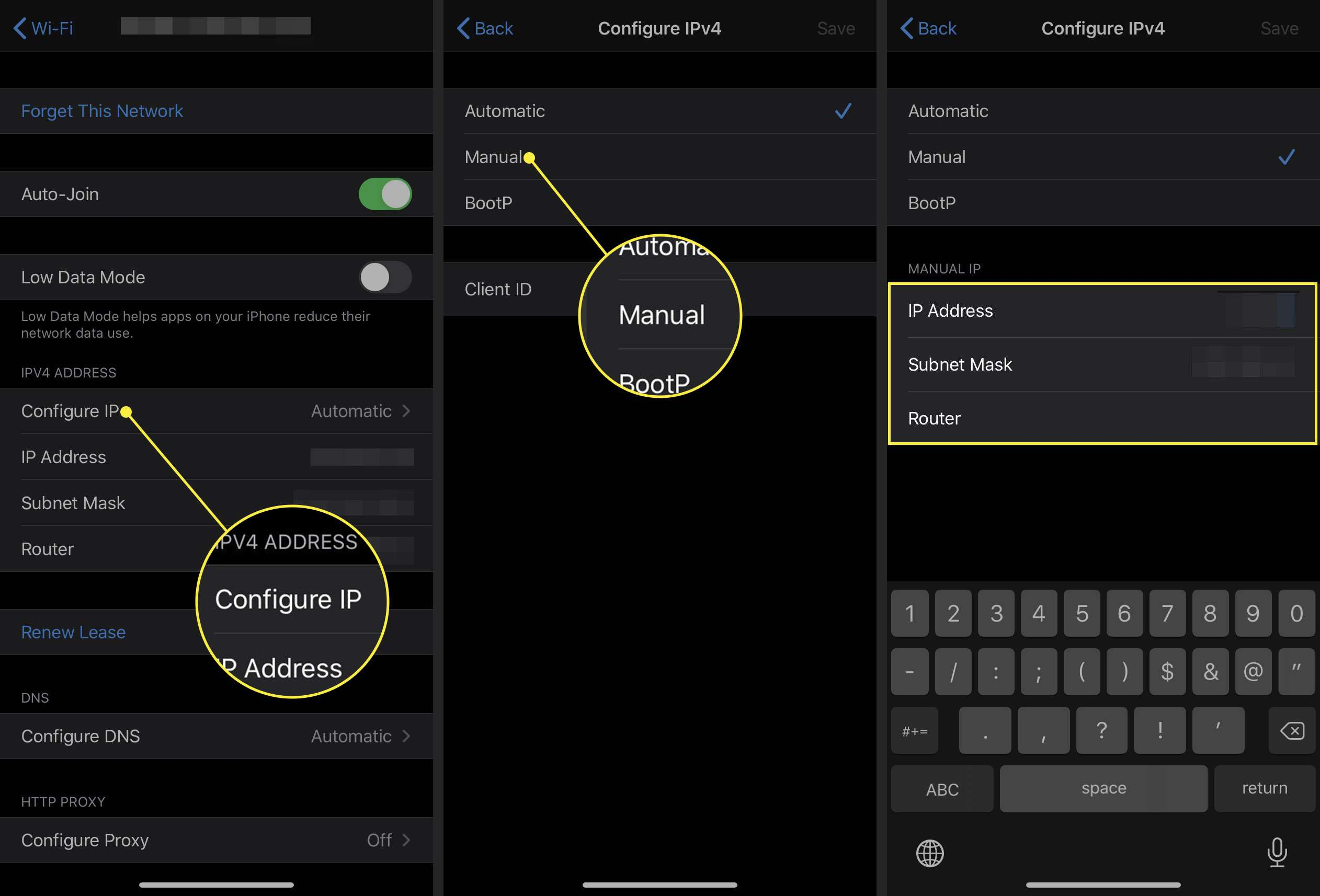 Setting an IP address manually on an iPhone