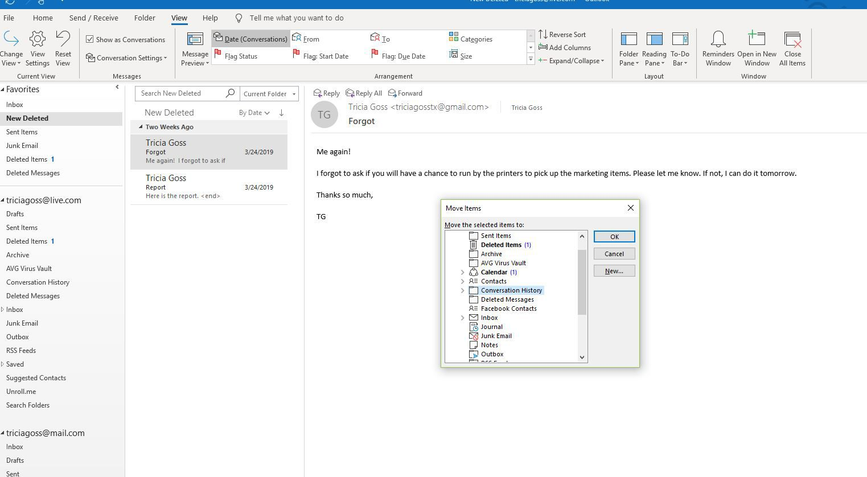 Screenshot of Move Items dialog