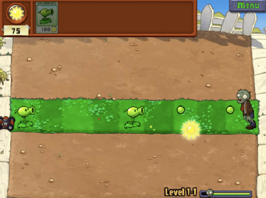 Two plants defend their lawn in Plants vs. Zombies