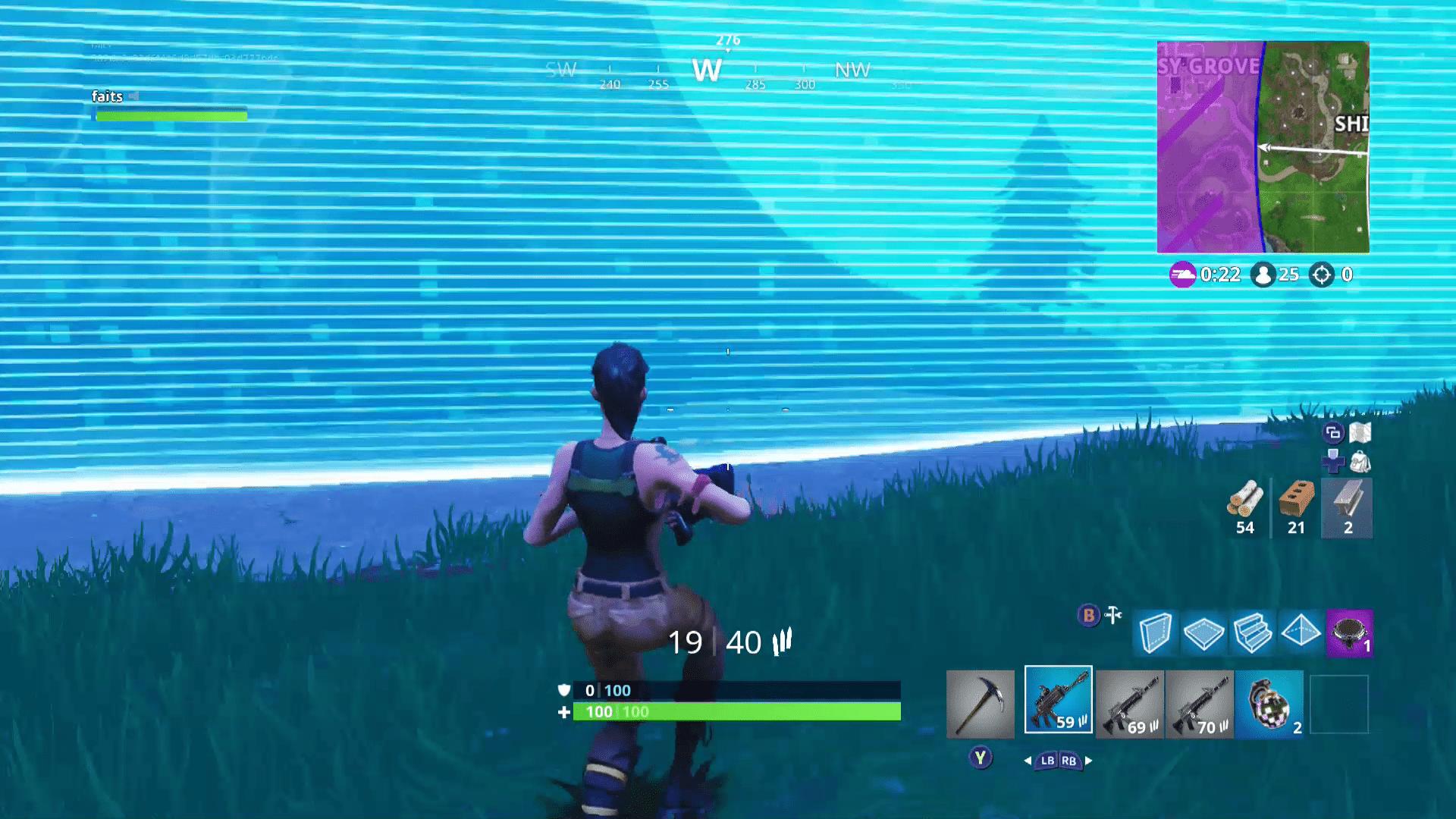 A screenshot of the advancing storm in Fortnite.