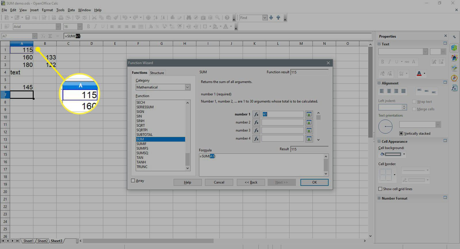 Selecting A1 cell in OpenOffice Calc.