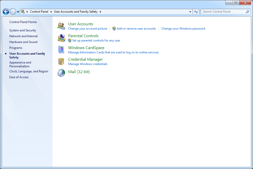 User Accounts and Family Safety screen in Windows 7