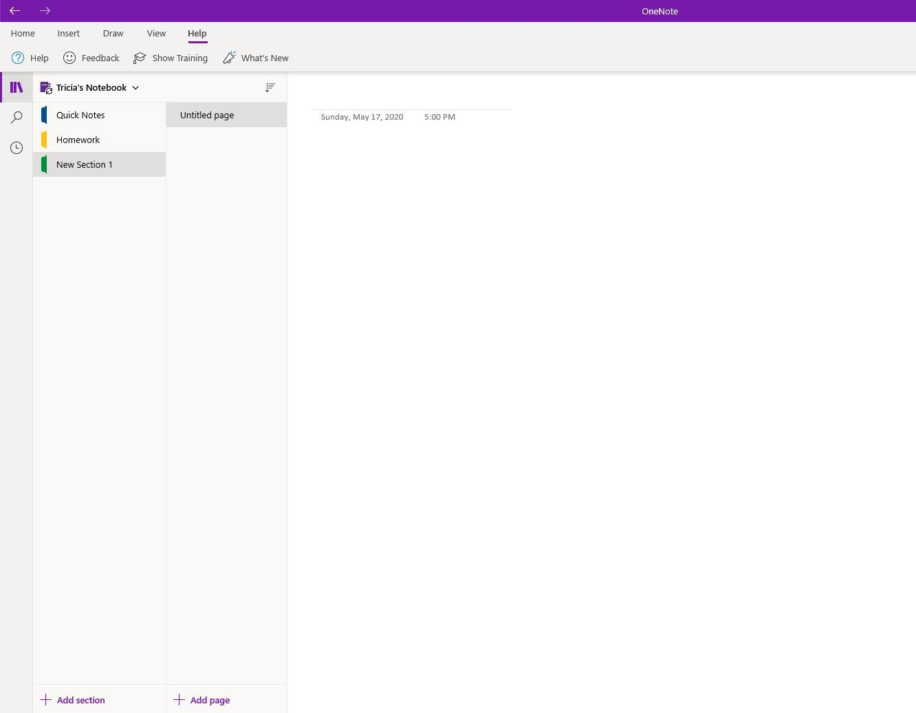 Add Section in OneNote.