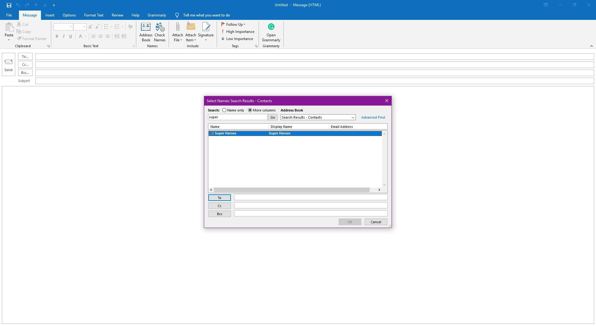 Emailing to a Distribution List in Outlook