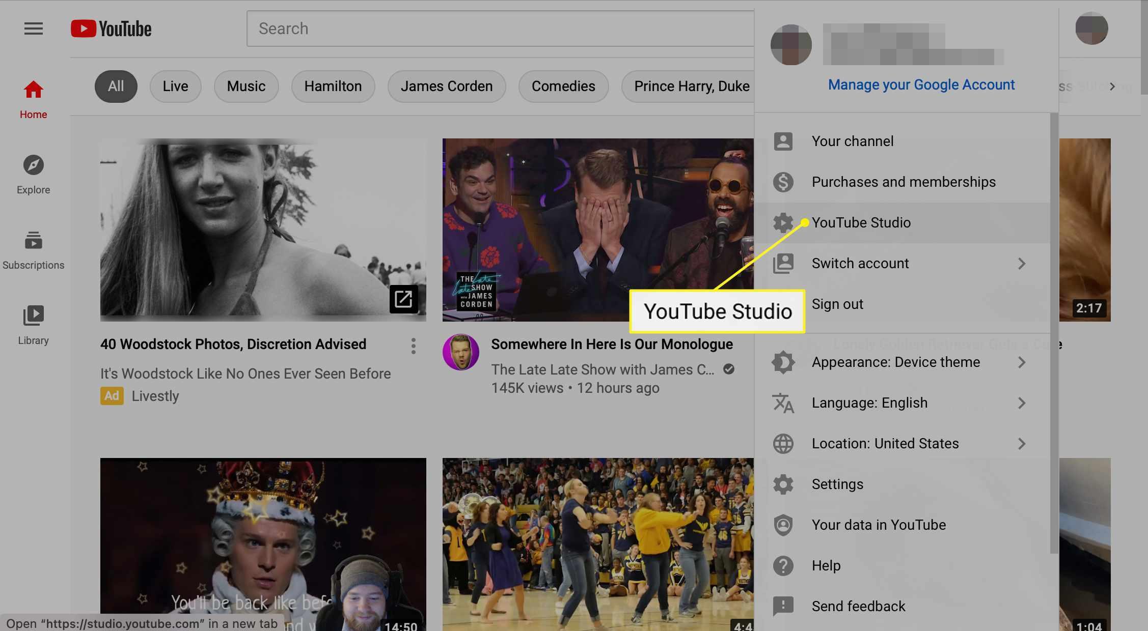 YouTube Studio selected in drop-down menu