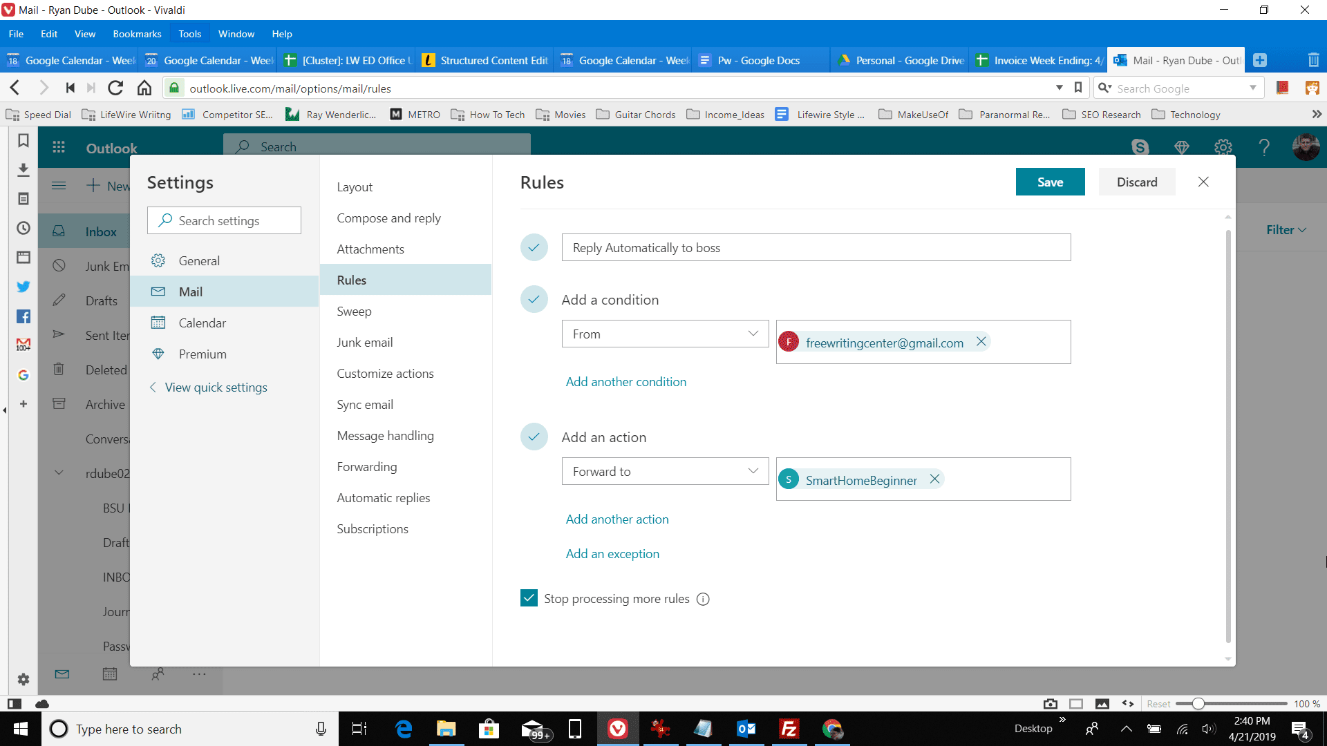 Screenshot of adding an action in Outlook online