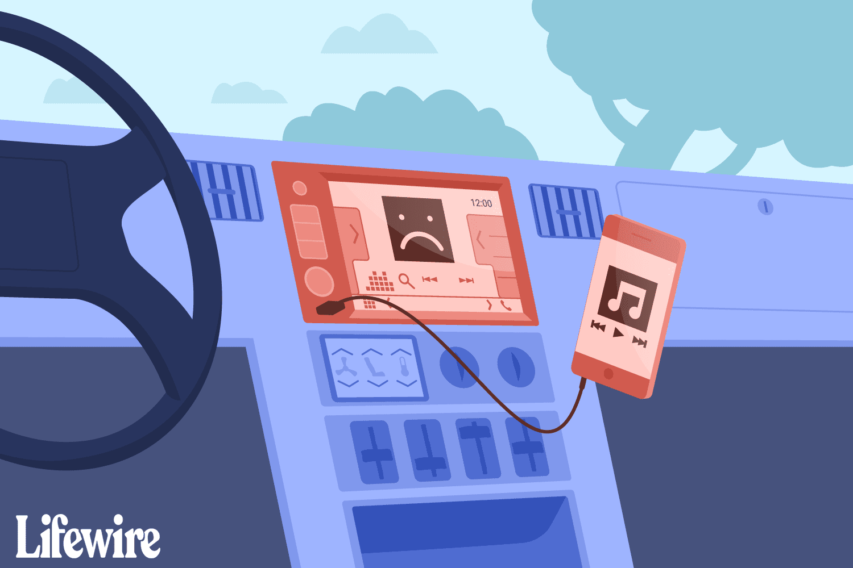 An iPod plugged to a car radio through a USB cord that won't work.