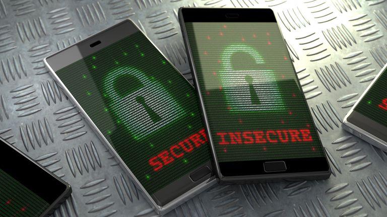 Smartphone security, conceptual illustration