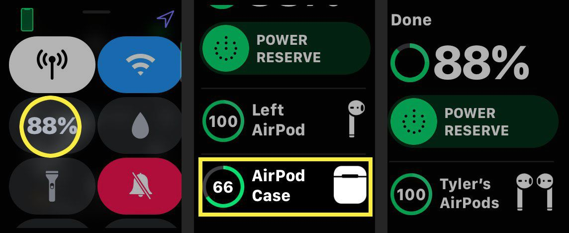 Apple Watch control center and battery screens