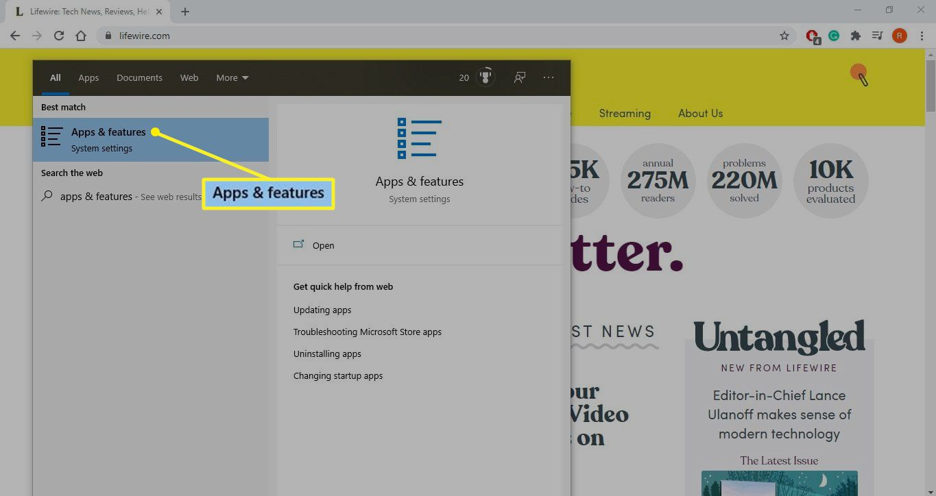 Apps & features chosen in search results