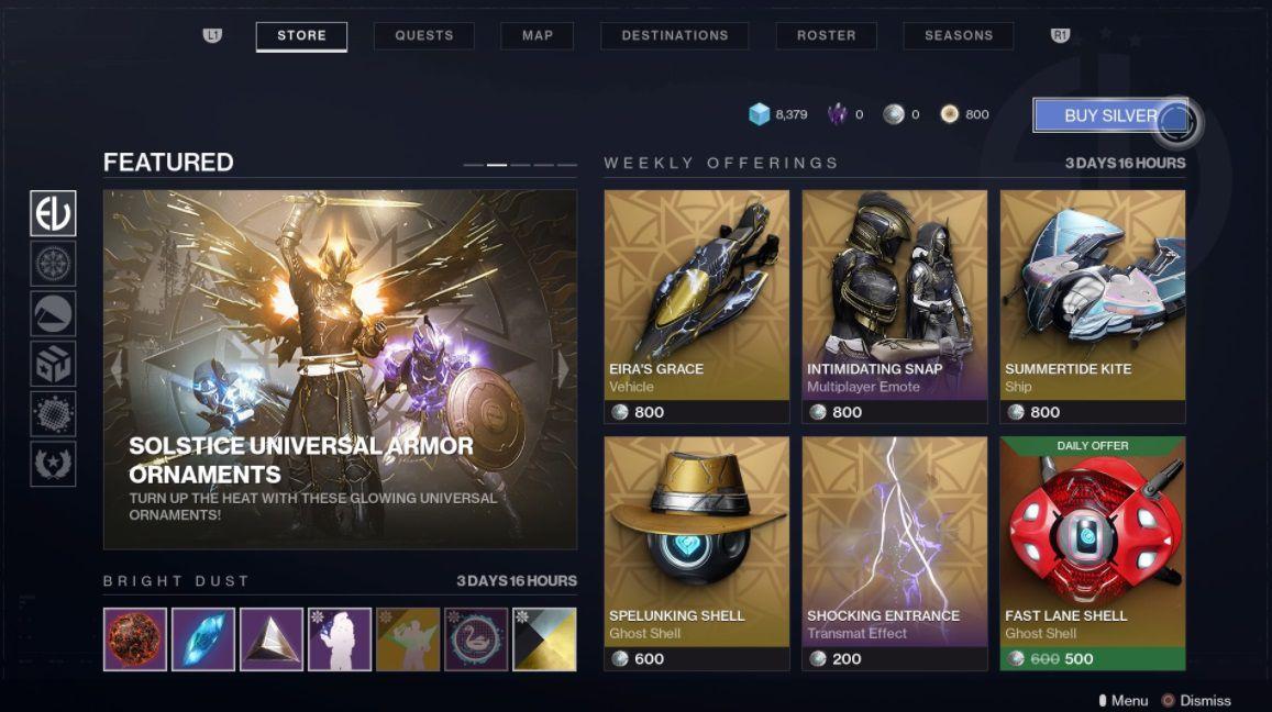 Destiny 2: New Light DLC store