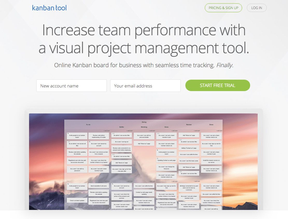 Kanban Tool website