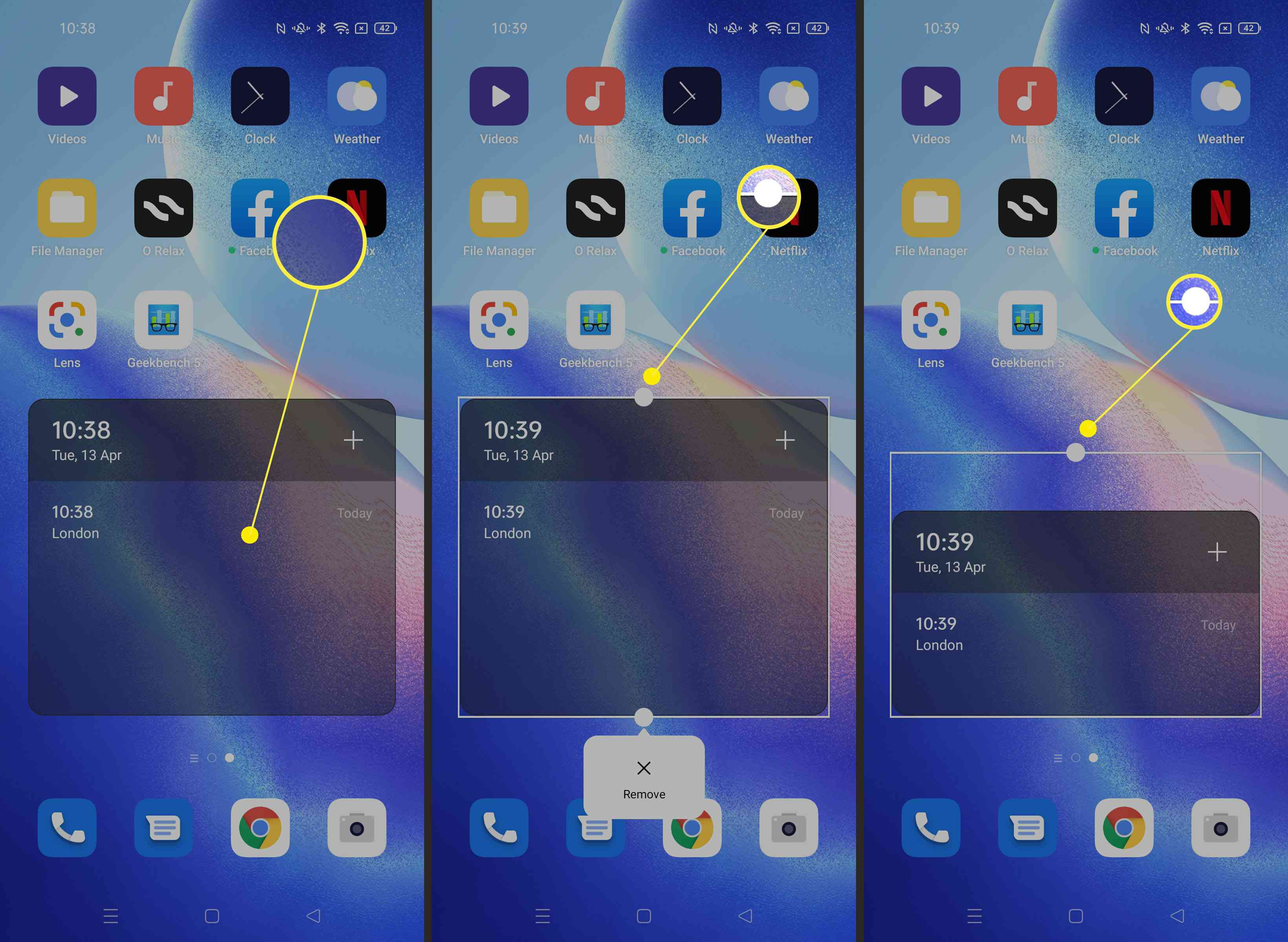 Steps required to resize a widget on an Android phone