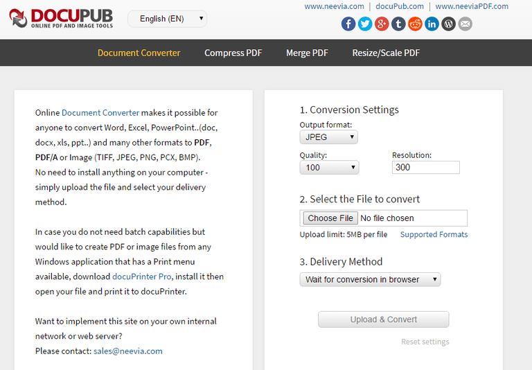 Screenshot of the docuPub website