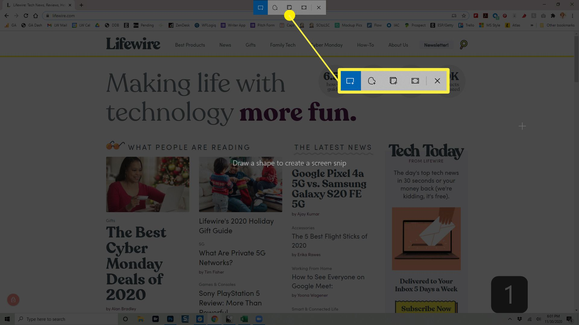 The Snip & Sketch toolbar in Windows 10.