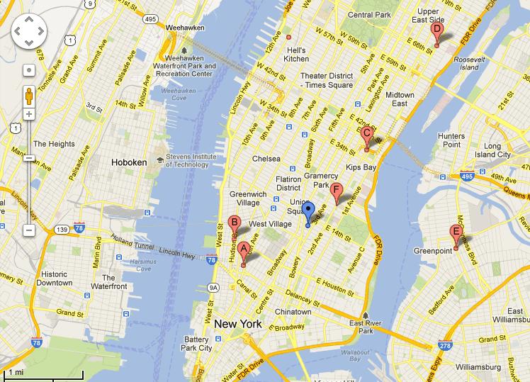 Google Maps image of Manhattan