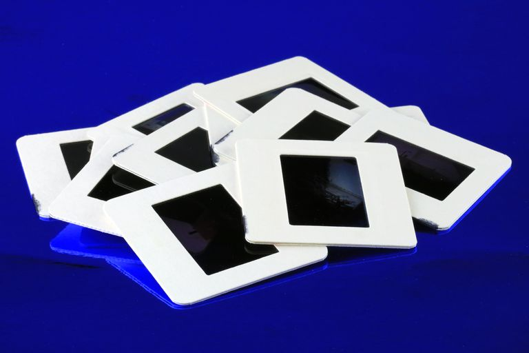 Projector slides on a blue background